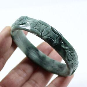 63mm Chinese Hand-carved Emerald Green Jadeite Jade Gems Bangle Bracelet j2399
