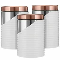 Tower 3pc Canisters Tea Coffee Sugar Containers, Stainless Steel White/Rose Gold