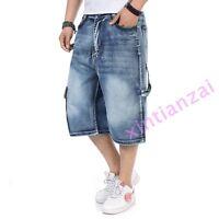 2019 Mens Loose Denim Cargo Short Denim Hip Hop baggy Pants Shorts Jean 30-46