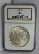 1922 PEACE DOLAR  GRADED MS64 BY NGC -NICE WHITE COIN-