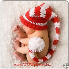 CROCHET BABY RED AND WHITE STRIPED LONG TAIL ELF HAT