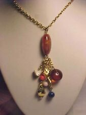 """Tassle Necklace Beaded Lapis Glass Amber Gold Cable Chain 24"""""""