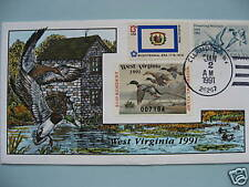 COLLINS H/P FDC 1991 WEST VIRGINIA MILFORD DUCK - RARE