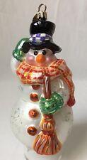 Christopher Radko Snowman Christmas Ornament Blown Glass w Broom Scarf Hat