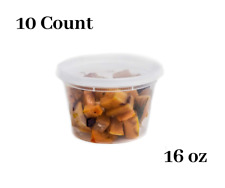 16 oz  10 Count  Plastic Soup Containers with Cutlery