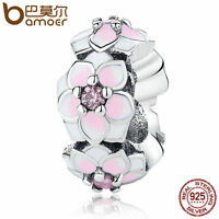 Bamoer S925 Sterling Silver Spacer Charm Magnolia Flower With Pink CZ Jewelry