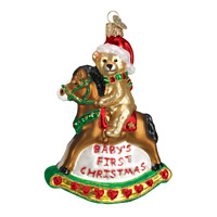 Rocking Horse Teddy Glass Ornament Old World Christmas New Babys First Christmas