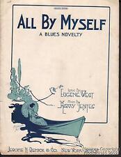 1920 Eugene West & Harry Jentes Blues Sheet Music (All By Myself)