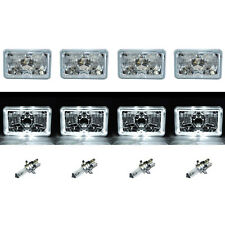 "4X6"" White LED Halo Angel Eye Halogen Headlight Headlamp Bulbs Crystal Clear Set"