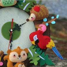 Cute Forest Animal Theme DIY Felt Material Handmade Cloth Clock Decoration