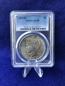1934-D PEACE SILVER DOLLAR $1 *PCGS AU55 ABOUT UNCIRCULATED*