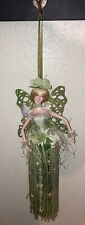 Vtg 90s Hanging 12� Green Fairy Pixie Faerie Blonde Movable Arms Dangle Tassels