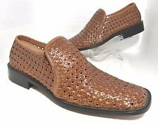 KENNETH COLE Cognac Woven Leather Loafers Made in Italy Mens Shoes Size 12 M