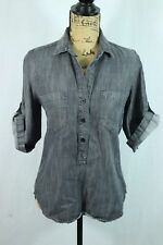 Women's Cloth & Stone XS Gray Tencel Blouse Roll Cuff Utilitarian Work Shirt