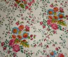 Antique French Floral Fabric ~ Magenta Pink Blue Green Yellow Tangerine Red