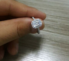 1.75 ct 14K White Gold Emerald Cut Diamond Solitaire Engagement Ring Mothers Day