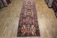 Antique Handmade Persian Karajeh Runner 10 x 3 Foot  Hand Knotted Wool Runner