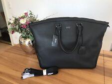 Hugo Boss Black Weekender Business Tasche aus schwarzen Leder für Herren, NEU!