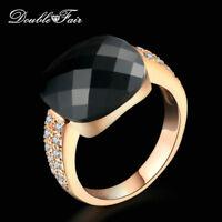 New Acrylic Princess Cut CZ Stone Finger Ring 18K Gold/Platinum Plated Jewelry
