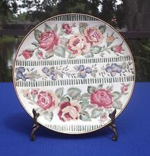 Decorative Cloisonne Style on Porcelain with Hand Painted Roses Plate