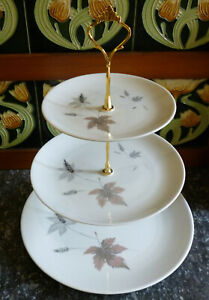 Royal Doulton ~ Tumbling Leaves ~ Large ~ 3 Tier Plates  ~ British ~ Cake Stand