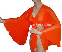 TMS Orange Flair Wrap Top Choli Belly Dance Club Costume Blouse Haut Boho Tribal