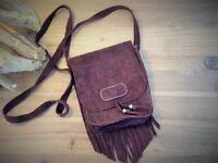Suede Leather Fringed Boho Crossbody bag
