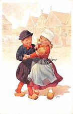 AK Künstler Karl Feiertag Kinder Mädche Junge tanzen mit Holzschuhe