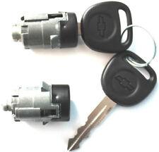 NEW CHEVY 2 (PAIR) OEM DOOR LOCKS CYLINDER LOCKSET + 2 OEM LOGO KEYS TO MATCH