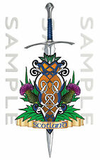 Small Scotland Thistle Celtic Sword Sticker Car Truck Van Bike Boat tool box