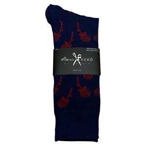 Marc Ecko 'Red Roses' Navy Blue Novelty Casual Dress Socks Men's Shoe Size 6-12