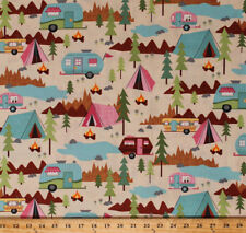 Camping Tents Campers Vacation Campfires Cream Cotton Fabric Print BTY D375.16