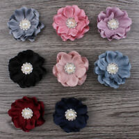 50pcs Mini Felt Fabric Flower+Rhinestone Pearl For Headbands Hair Accessories