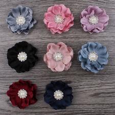 Mini Felt Fabric Flower+Rhinestone Pearl For Headbands Hair Accessories 20pcs