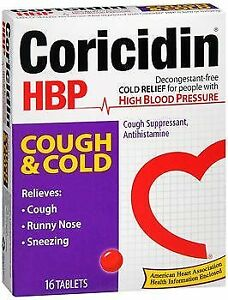 Coricidin HBP Cough & Cold Tablets - 16 Tablets, Pack of 2