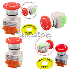 Red Mushroom Cap 1NO 1NC DPST  AC 660V&10A Emergency Stop Push Button Switch