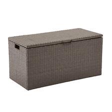 Outdoor Deck Box All Weather Brown Wicker Garden Outdoor Storage Container Box