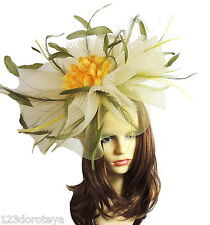 Yellow Olive Green Fascinator for Ascot, Weddings, Proms, Derby J1
