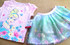 """DISNEY """"CINDERALLA"""" PINK T-SHIRT ++ FLORAL SKIRT - 2PC OUTFIT SIZE 2T"""