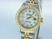 ROLEX DATEJUST LADIES STAINLESS STEEL & GOLD DIAMOND WATCH AUTOMATIC WITH PAPERS