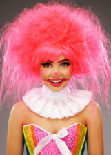 Womens Messy Neon Pink Clown Wig