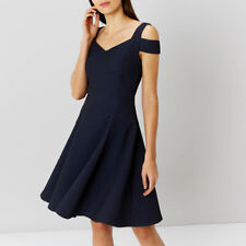 COAST AVA SHIMMER BARDOT NAVY BLUE 50'S FIT N FLARE DRESS SIZE 10 TWICE £135