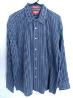 Faconnable Jeans Mens XL Gray Blue Geometric Striped Long Sleeve Button Up Shirt