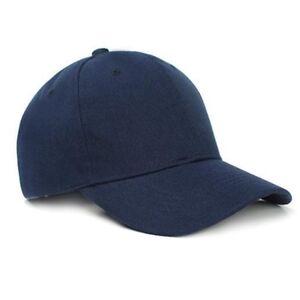 Men's Women's Baseball Caps Plain Hook-N-Loop Adjustable Solid Hat Polo Navy