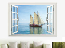 3D Window View Sailboat Wall Stickers Decals Vinyl Art Home Living Room Mural