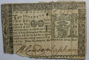 United States Maryland Colonial Currency 1770 Two Dollar Note MD-67
