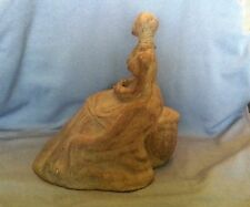 Rare Vtg Black American Woman Heavy Statue Sculpture very old sitting on tree