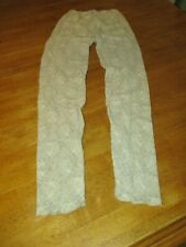 Vintage  Sexy LACE  Lingerie LEGGINGS SIZE SM/ MED STRETCHY BEIGE 100% NYLON