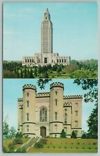 Baton Rouge Louisiana~Old And new State Capitol~Vintage Postcard