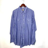 Ely Cattleman Mens Western Cowboy Shirt Blue Stripe Long Sleeve Snap Up 2XL Tall